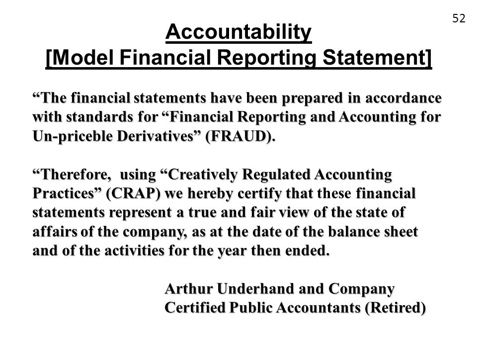 [Model Financial Reporting Statement]
